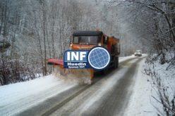Ninsoarea de noaptea trecută s-a transformat în ghețuș pe unele drumuri județene din zona de munte a județului Cluj