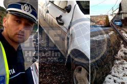 VIDEO – Polițistul cocalar, accident cu mașina de serviciu la Mănăstireni