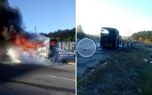 FOTO – Autocar cuprins de flăcări la Izvorul Crișului. La bord erau 29 de persoane